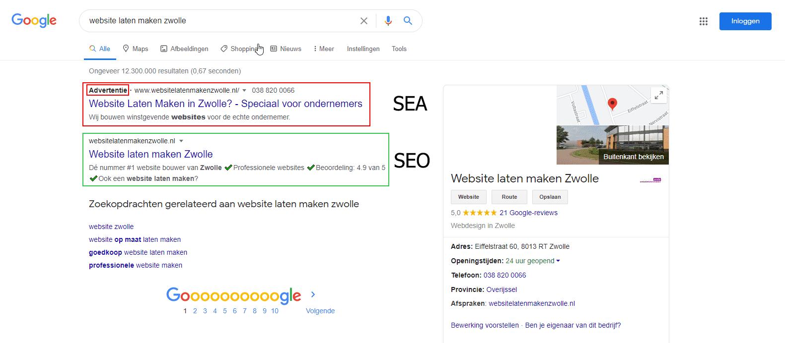 Het verschil tussen seo en sea